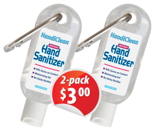 HandiClean - Travel Size Hand Sanitizer gel with Carabiner, 2-pack